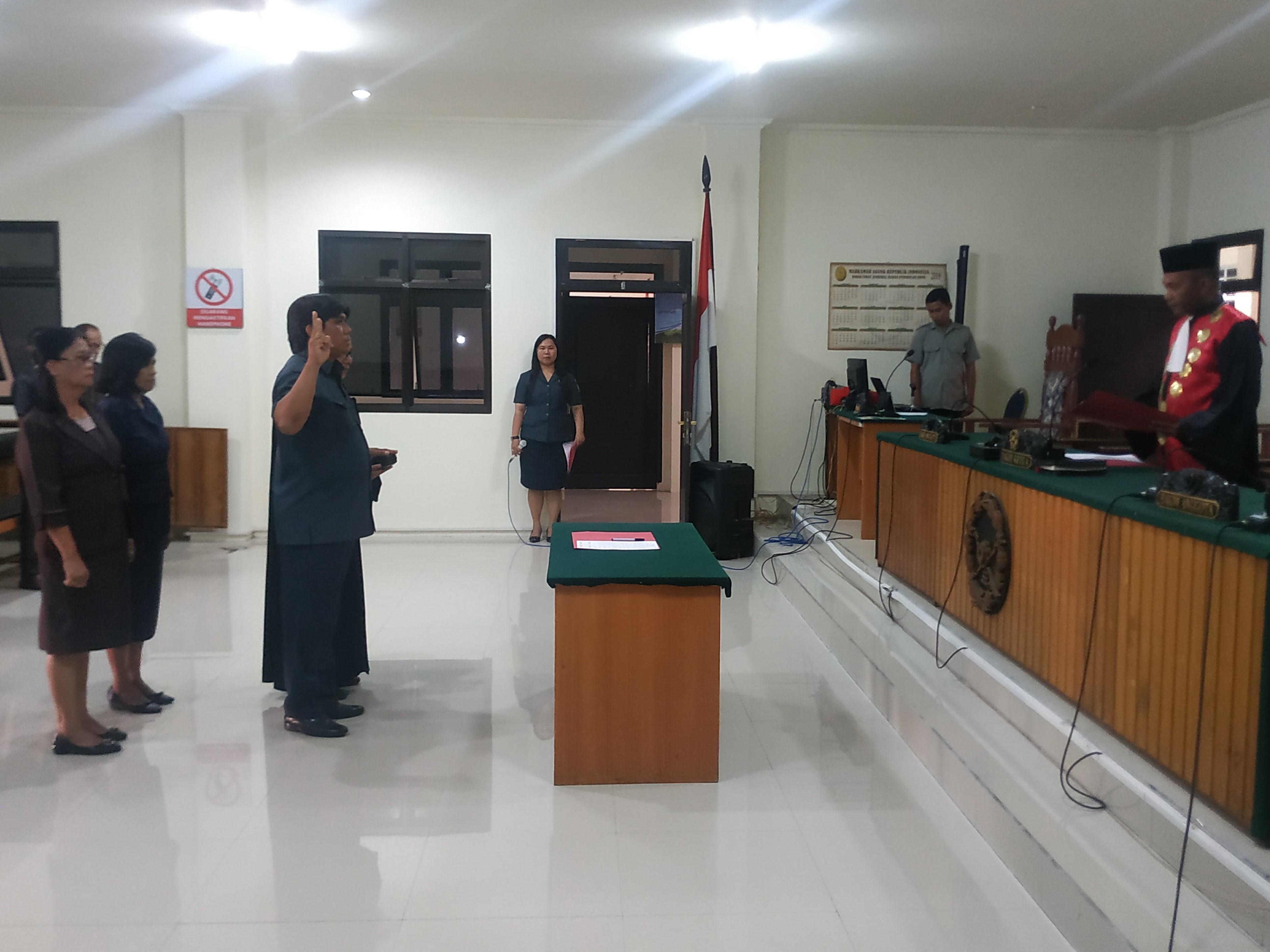 Pelantikan Jurusita Pengganti Atas Nama Reinhard T. Bulambae