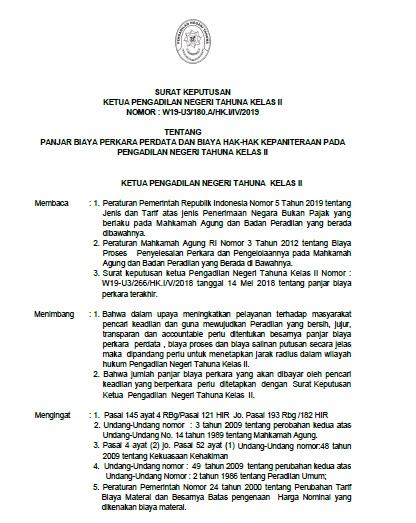 SK Ketua Pengadilan Negeri Tahuna tentang Panjar Biaya Perkara Perdata dan Biaya Hak-Hak Kepaniteraan pada Pengadilan Negeri Tahun Kelas II